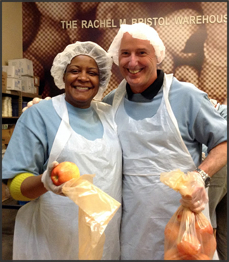 Two Hard-working OCC Volunteers at the Oregon Food Bank